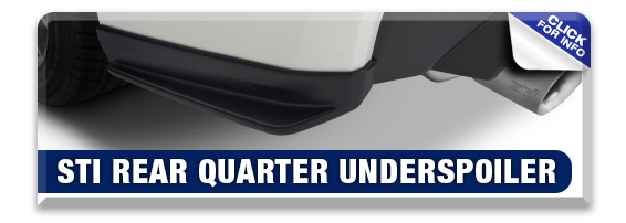 Click to research our STI Rear Quarter Under Spoiler Kit performance parts information at Hanson Subaru in Olympia, WA