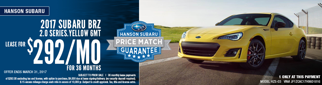 2017 Subaru BRZ 2.0 Series.Yellow Lease Special in Olympia, WA