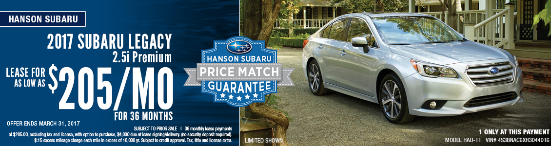 2017 Subaru Legacy 2.5i Premium Low Payment Lease Special in Olympia, WA
