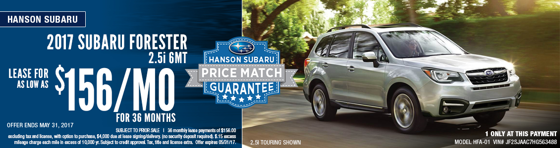 Save when you lease this new 2017 Subaru Forester in Olympia, WA