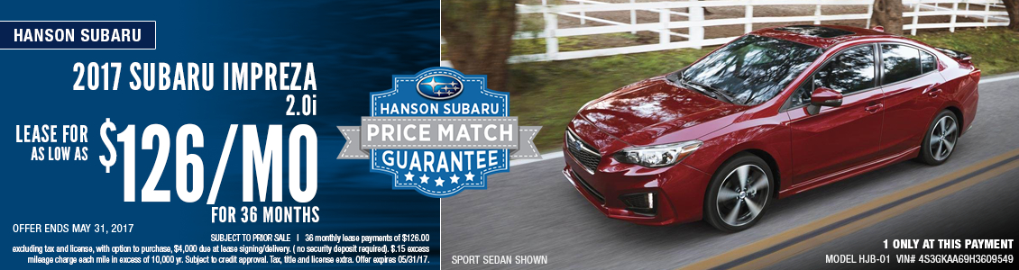 Great low lease payment available on a new 2017 Impreza From Hanson Subaru in Olympia, WA