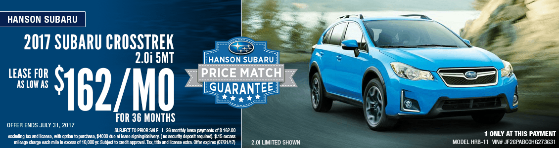 Save with this month's lease special on a 2017 Subaru Crosstrek 2.0i at Hanson Subaru in Olympia, WA
