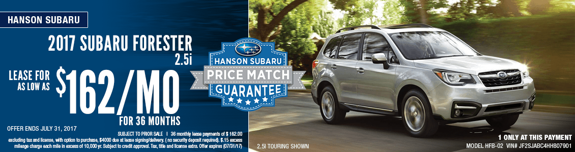 Get a low payment lease special on a 2017 Subaru Forester 2.5i at Hanson Subaru in Olympia, WA