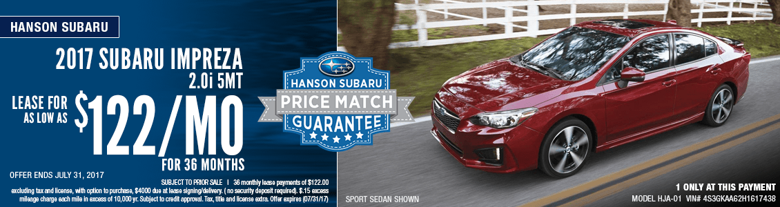 Save with this month's lease special on a 2017 Subaru Impreza 2.0i sedan at Hanson Subaru in Olympia, WA