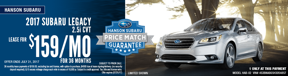 Save with this month's lease special on a 2017 Subaru Legacy 2.5i CVT at Hanson Subaru in Olympia, WA