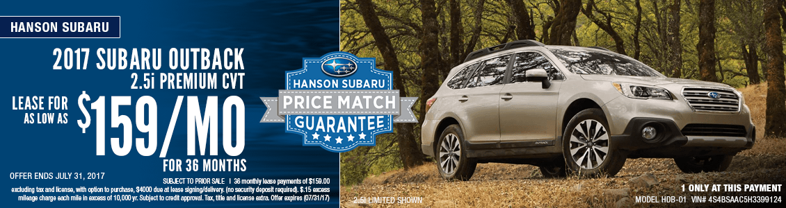 Save with this month's lease special on a 2017 Subaru Outback 2.5i Premium at Hanson Subaru in Olympia, WA
