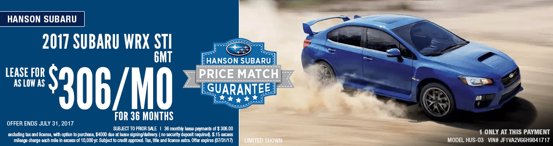 Save with this month's lease special on a 2017 Subaru WRX STI at Hanson Subaru in Olympia, WA