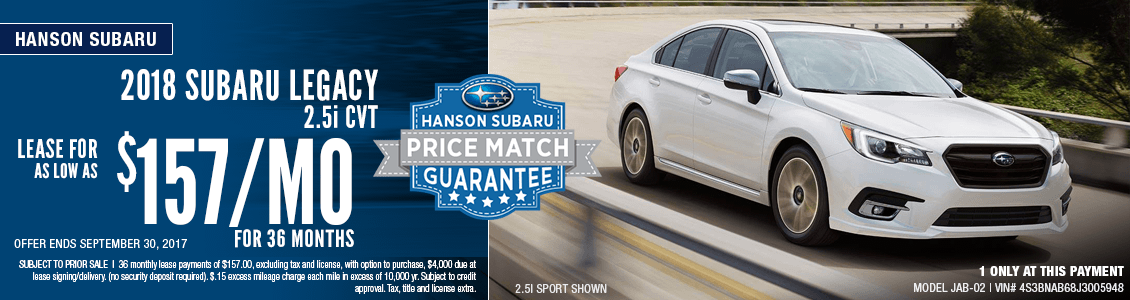2018 Legacy 2.5i CVT Lease Special in Olympia, WA