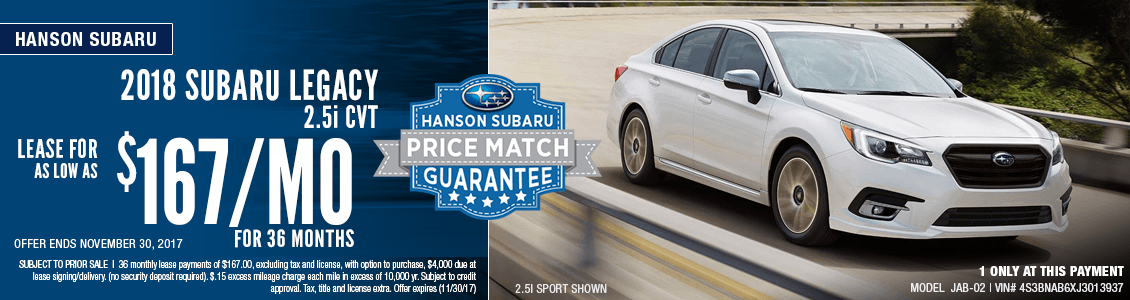 Lease a 2018 Legacy 2.5i CVT for special low monthly payment at Hanson Subaru in Olympia, WA