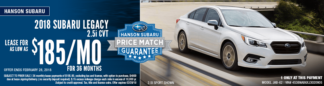 2018 Subaru Legacy Low Payment Lease Special in Olympia, WA