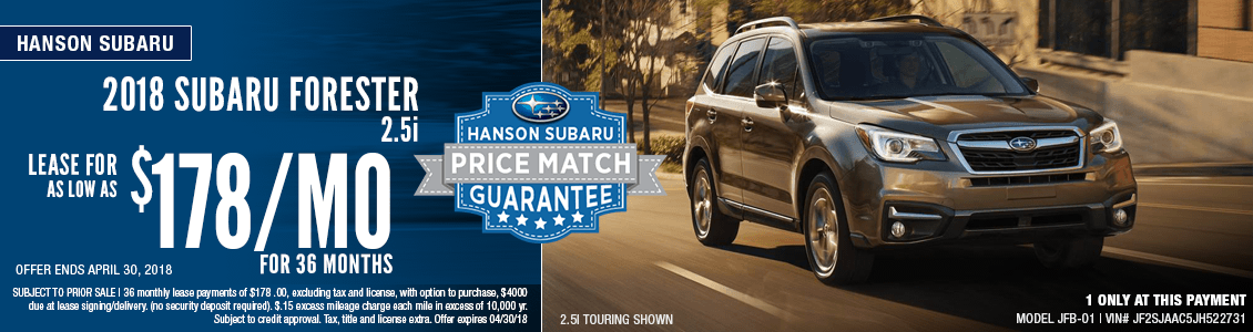 2018 Subaru Forester Low Payment Lease Special in Olympia, WA