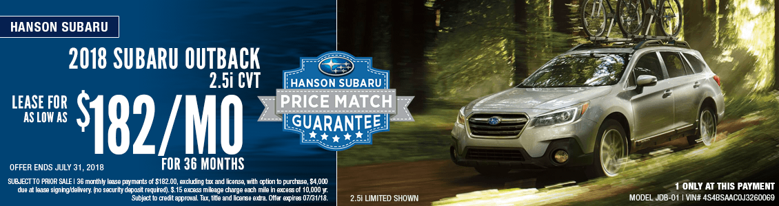 2018 Subaru Outback 2.5i CVT Low Payment Lease Special in Olympia, WA