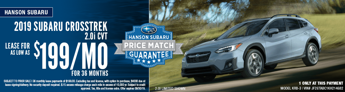 2019 Subaru Crosstrek 2.0i CVT Low Payment Lease Special at Hanson Subaru in Olympia, WA