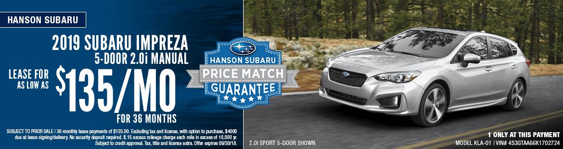 2019 Subaru Impreza 2.0i Manual Transmission Low Payment Lease Special at Hanson Subaru in Olympia, WA