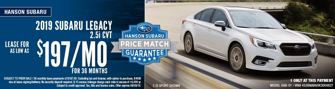 2019 Subaru Legacy 2.5i CVT Lease Special at Hanson Subaru in Olympia, WA