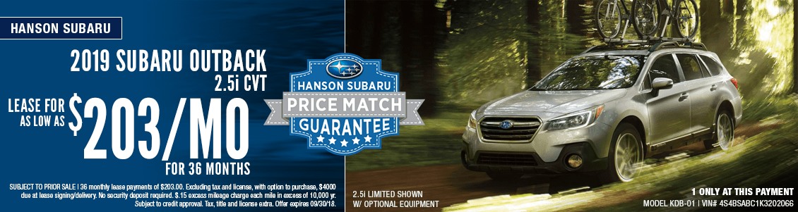 2019 Subaru Outback 2.5i CVT Low Payment Lease Special at Hanson Subaru in Olympia, WA