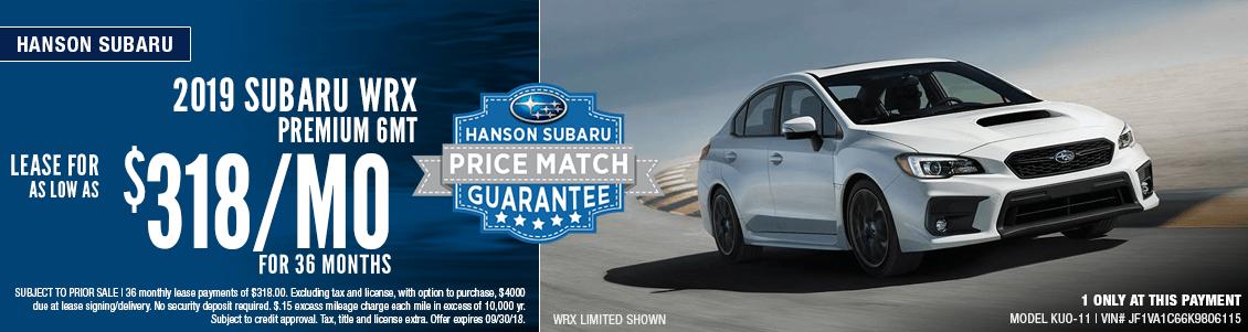 2019 Subaru WRX Premium 6MT Lease Special at Hanson Subaru in Olympia, WA