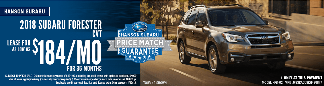 2018 Subaru Forester CVT Low Payment Lease Special in Olympia, WA