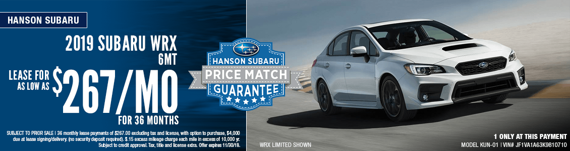 2018 Subaru WRX 6MT Low Payment Lease Special in Olympia, WA