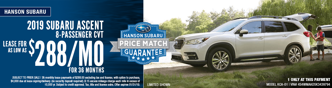2019 Subaru Ascent 8-passenger CVT Low Payment Lease Special in Olympia, WA