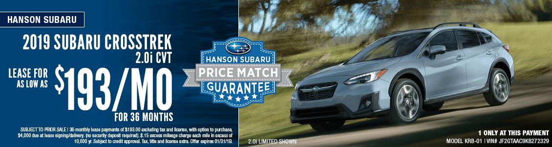 2019 Subaru Crosstrek 2.0i CVT Low Payment Lease Special in Olympia, WA
