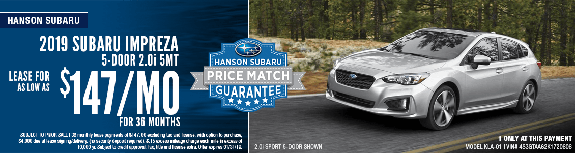 2019 Subaru Impreza 2.0i 5-dr 5mt Low Payment Lease Special in Olympia, WA