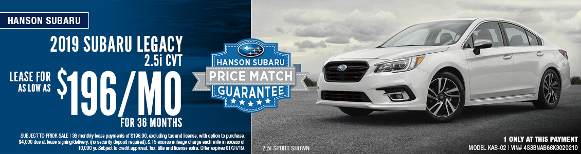 2019 Subaru Legacy 2.5i CVT Low Payment Lease Special  in Olympia, WA