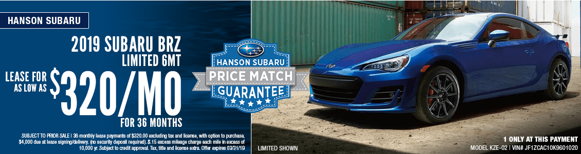 2019 BRZ Limited 6MT Lease Special at Hanson Subaru in Olympia, WA