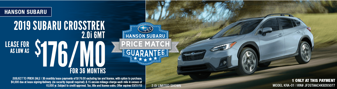 2019 Crosstrek 2.0i 6MT Low Payment Lease Special at Hanson Subaru in Olympia, WA