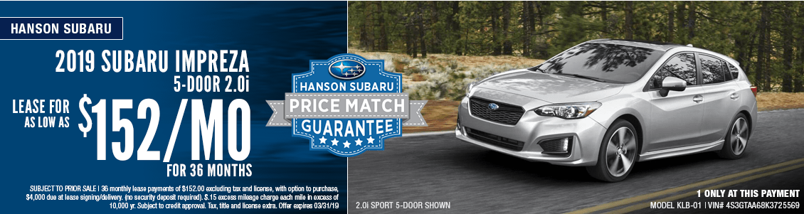 2019 Impreza 5-Door 2.0i Low Payment Lease Special at Hanson Subaru in Olympia, WA