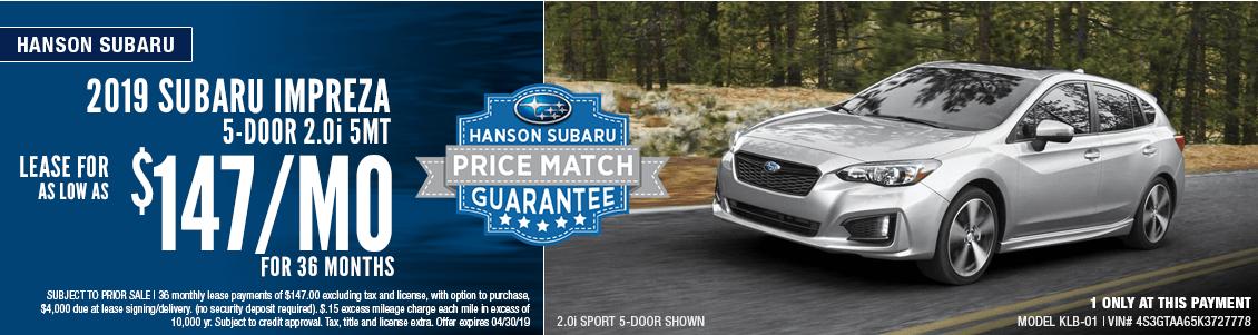 2019 Subaru Impreza 2.0i 5mt Low Payment Lease Special in Olympia, WA