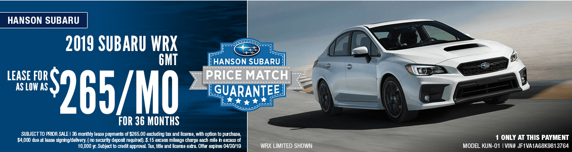 2019 Subaru WRX 6MT Low Payment Lease Special in Olympia, WA
