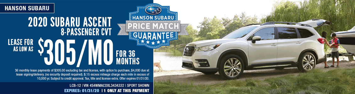 2020 Subaru Ascent 8-Passenger CVT Lease Special in Olympia, WA