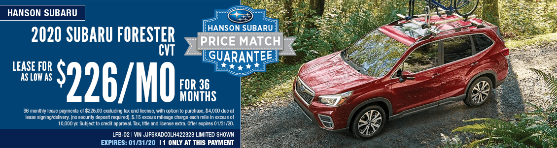 2020 Forester CVT Low Payment Lease Special in Olympia, WA