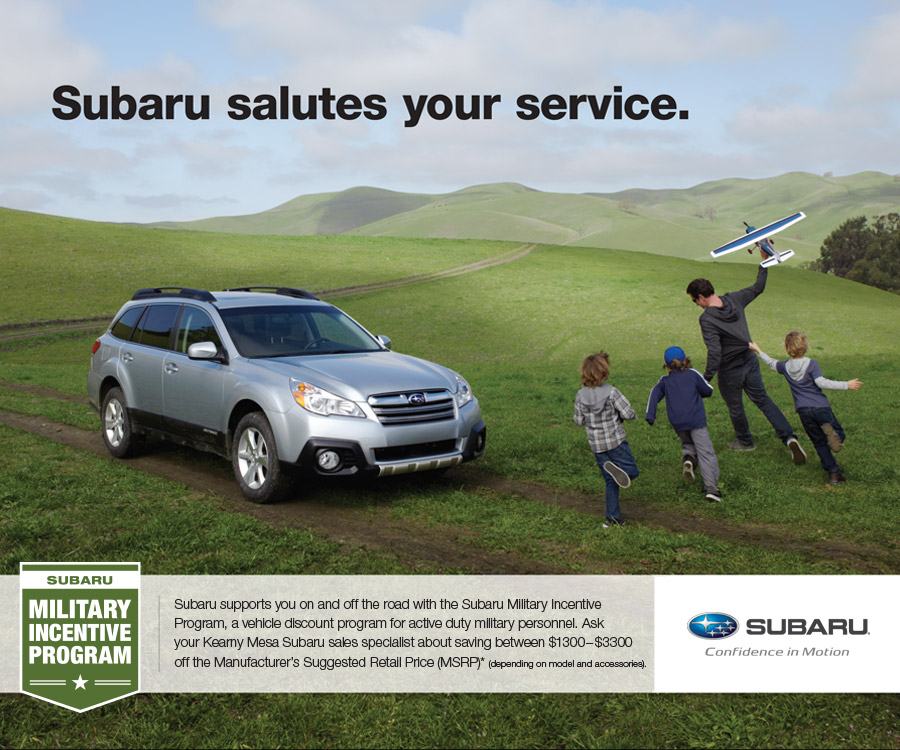 Subaru Military Incentive Program Special Offer serving San Diego & Kearny Mesa, California