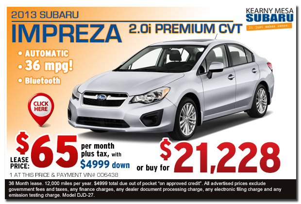 New 2013 Subaru Impreza 2.0i Lease & Sales Special Offer serving San Diego, California