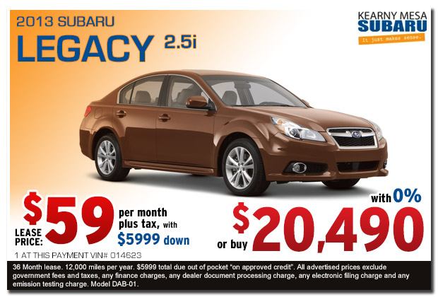 Kearny Mesa New 2013 Subaru Legacy 2.5i Sales & Lease Special Offer serving San Diego, California