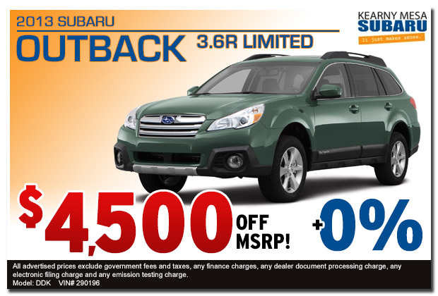 San Diego new 2013 Subaru Outback 3.6R Discount Special Sales Offer serving Kearny Mesa, California