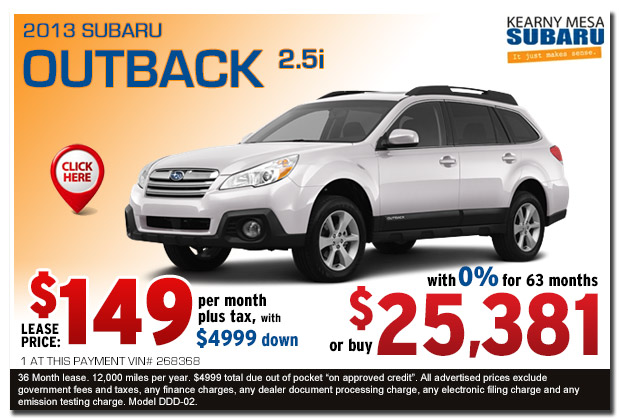 New 2013 Subaru Outback 2.5i Premium Lease & Sales Special serving San Diego, California