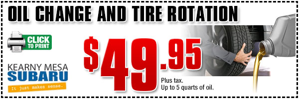 San Diego Subaru Oil Change And Tire Rotation Service Special