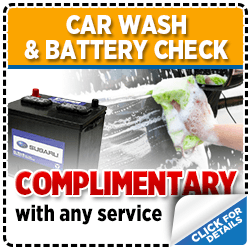 Click to view our Subaru Complementary Car Wash and Battery Check with any Service special in San Diego, CA