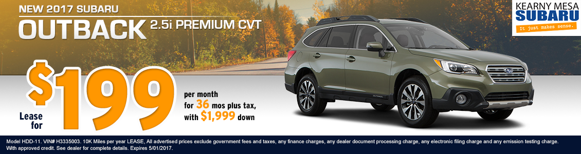 2017 Subaru Outback 2.5i Premium Lease Special in San Diego, CA