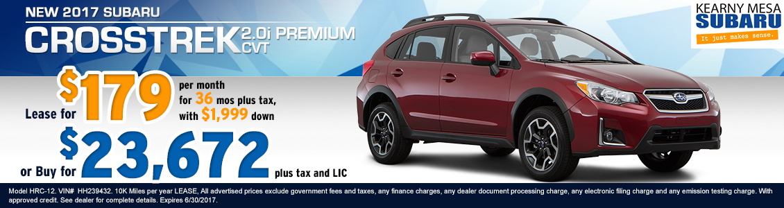 Lease a New 2017 Subaru Crosstrek 2.0i Premium from Kearny Mesa Subaru serving San Diego, CA