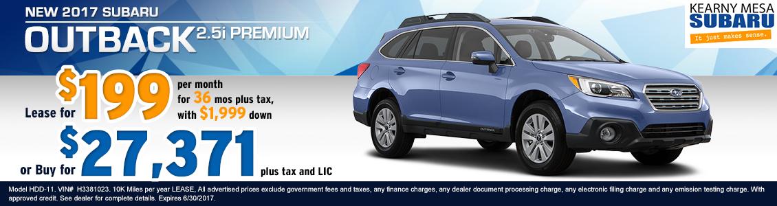Lease a New 2017 Subaru Outback 2.5i premium from Kearny Mesa Subaru serving San Diego, CA