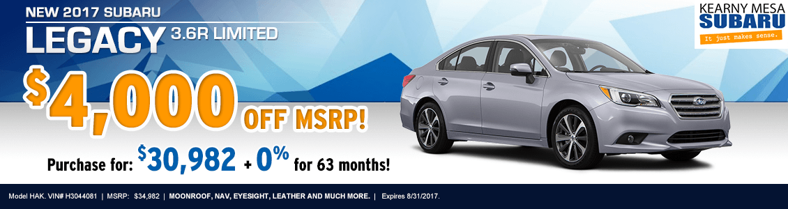 Lease or Purchase a New 2017 Subaru Legacy from Kearny Mesa Subaru serving San Diego, CA