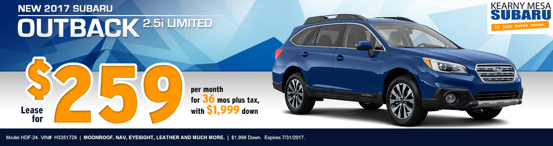 Lease a New 2017 Subaru Outback 2.5i Limited from Kearny Mesa Subaru serving San Diego, CA