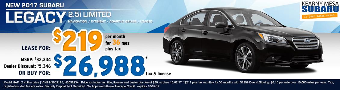 New 2017 Subaru Legacy Lease & Purchase Specials at Kearny Mesa Subaru serving San Diego, CA
