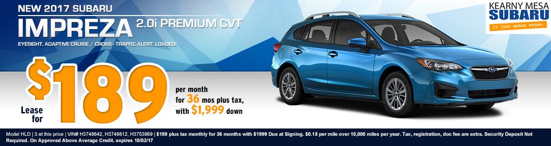 New 2017 Subaru Impreza 2.0i Premium CVT Lease Special Offer at Kearny Mesa Subaru