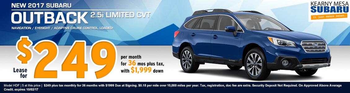 Kearny Mesa Subaru New 2017 Outback 2.5i Limited CVT Lease Special serving San Diego, CA