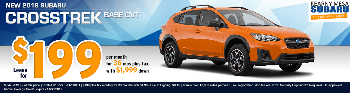 2018 Crosstrek Base CVT low payment lease special at Kearny Mesa Subaru in San Diego, CA